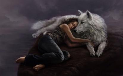 Wallpapers frau mit wolf